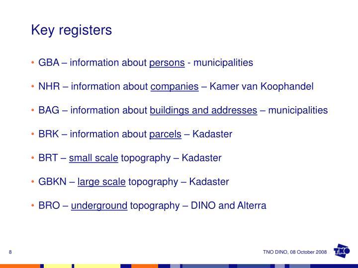Key registers