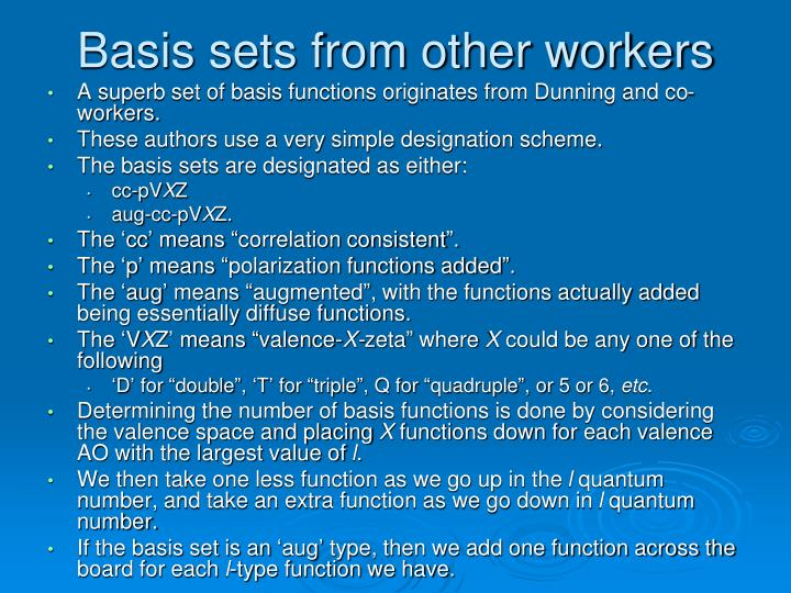 Basis sets from other workers