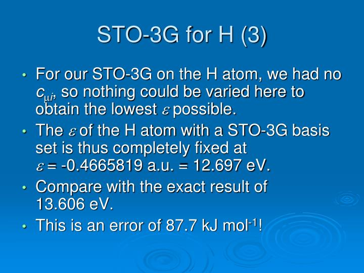 STO-3G for H (3)
