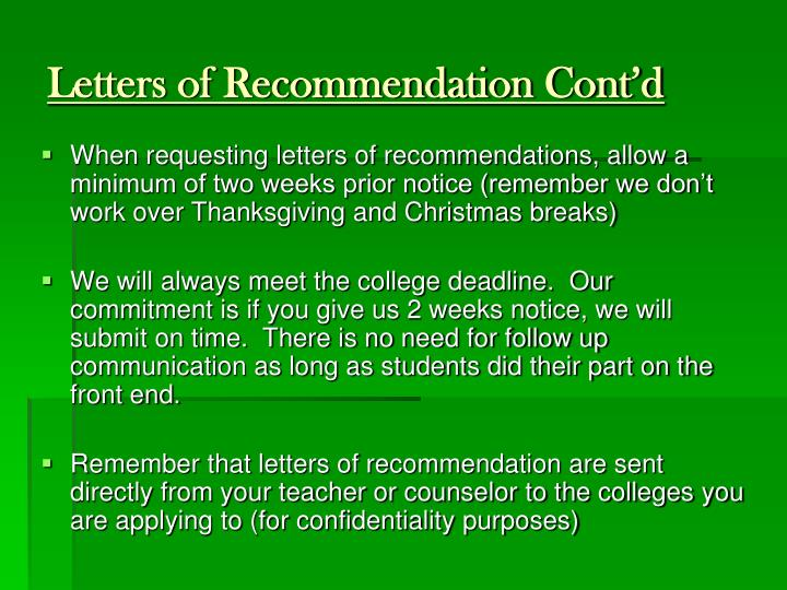 Letters of Recommendation Cont'd