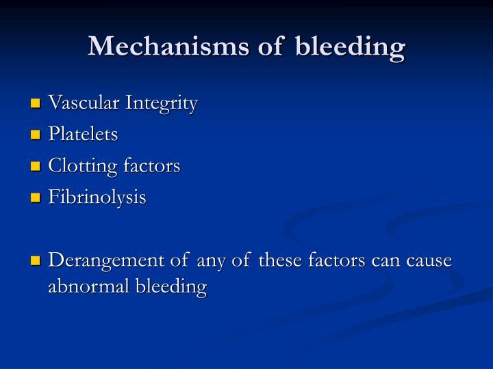 Mechanisms of bleeding