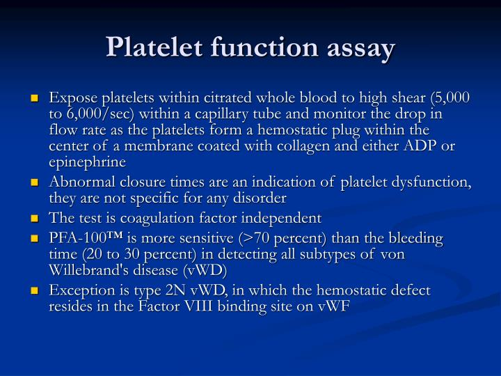Platelet function assay