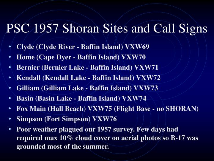 PSC 1957 Shoran Sites and Call Signs