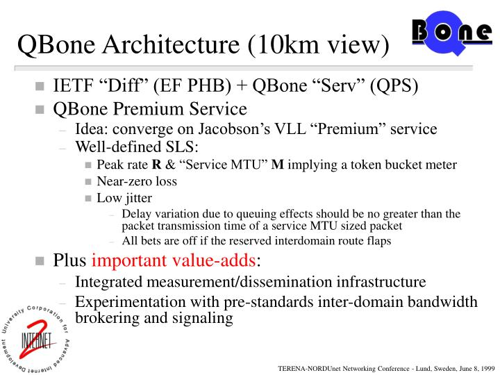 QBone Architecture (10km view)