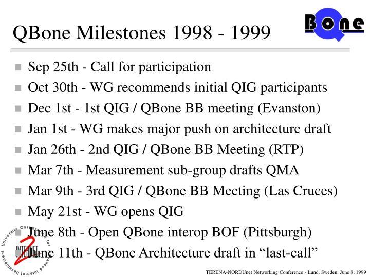 QBone Milestones 1998 - 1999