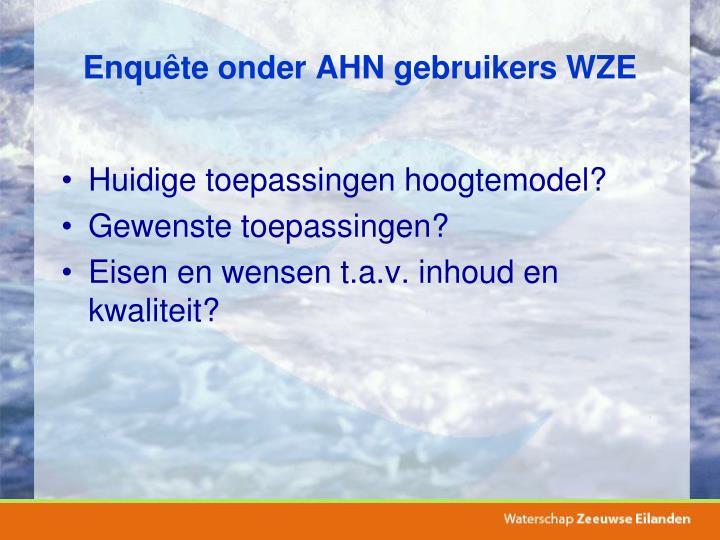 Enquête onder AHN gebruikers WZE