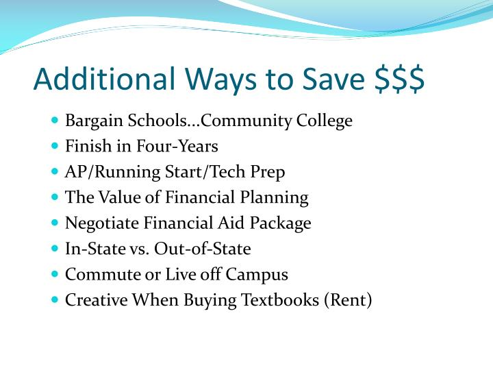 Additional Ways to Save $$$