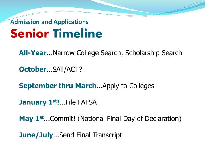 Admission and Applications