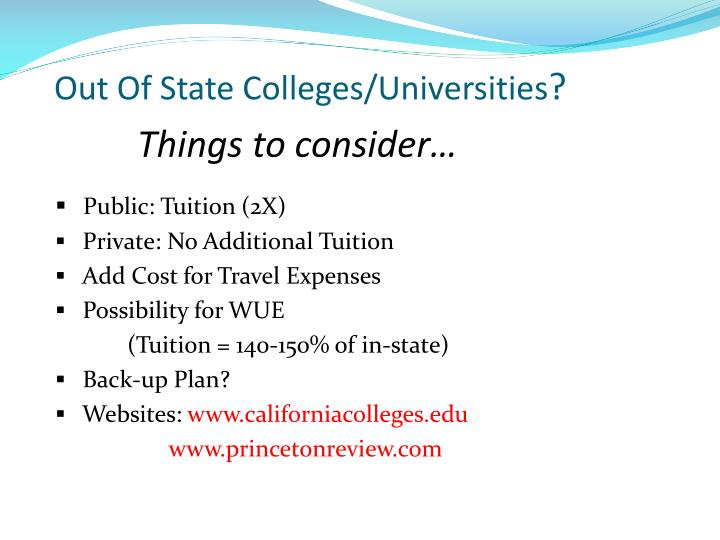 Out Of State Colleges/Universities