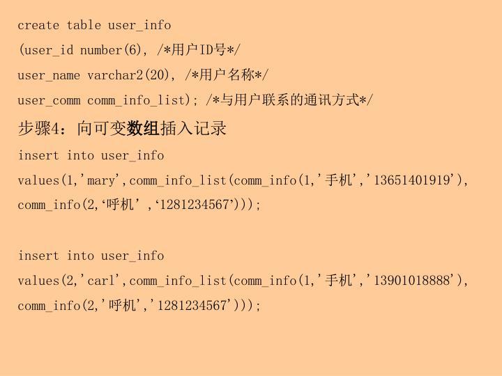 create table user_info