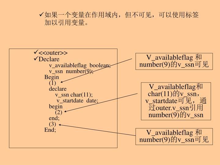 如果一个变量在作用域内,但不可见,可以使用标签加以引用变量。