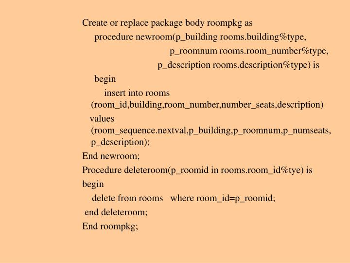 Create or replace package body roompkg as