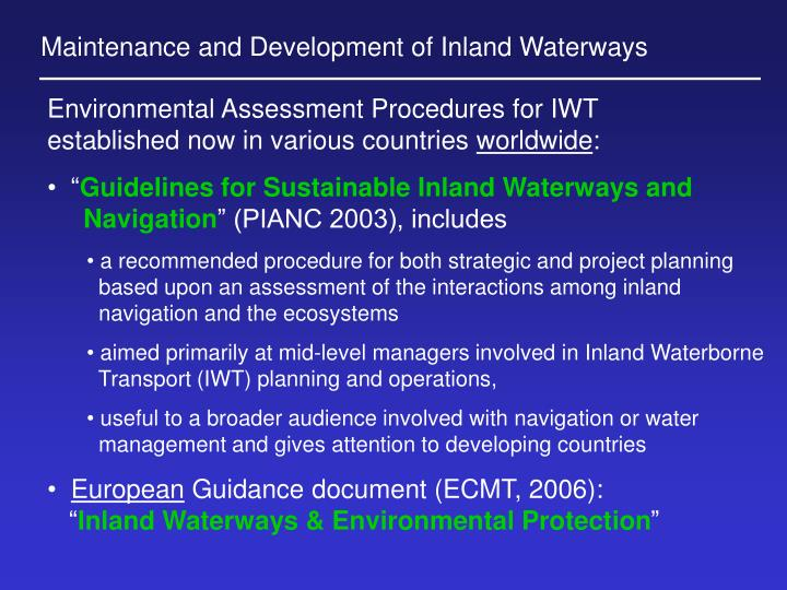 Maintenance and Development of Inland Waterways