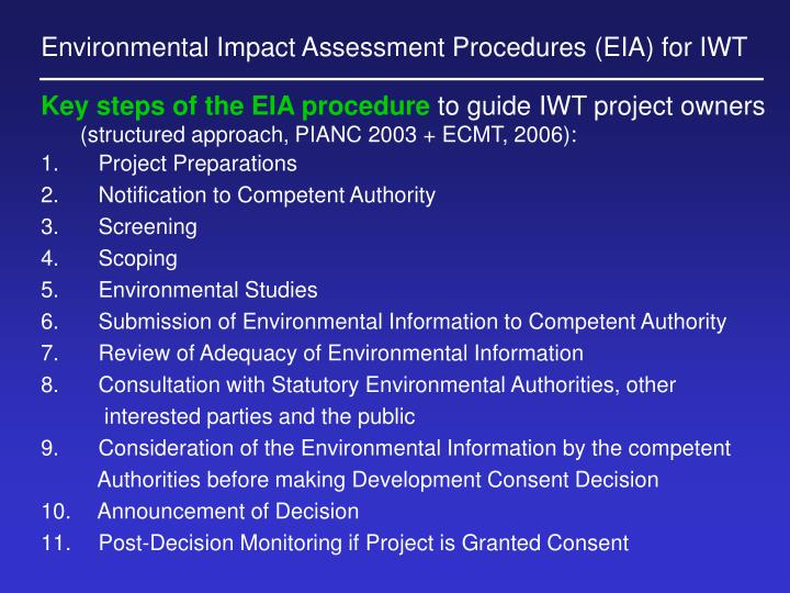 Environmental Impact Assessment Procedures (EIA) for IWT