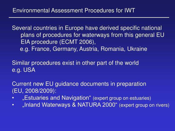 Environmental Assessment Procedures for IWT