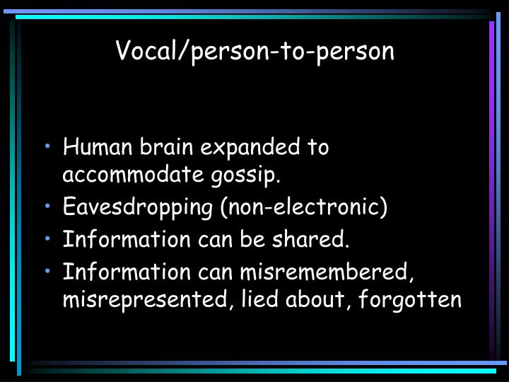 Vocal/person-to-person