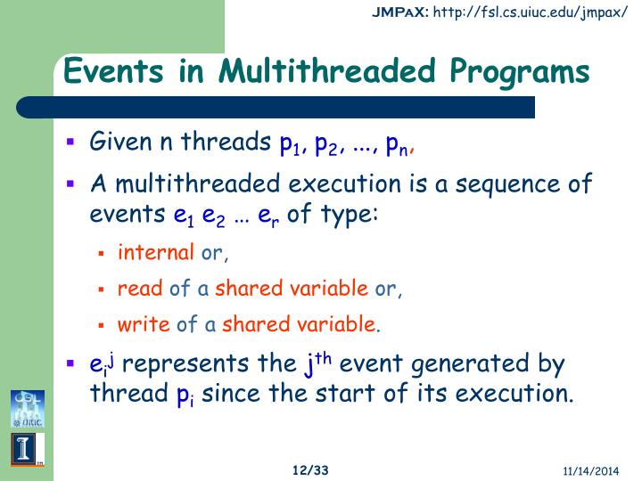 Events in Multithreaded Programs