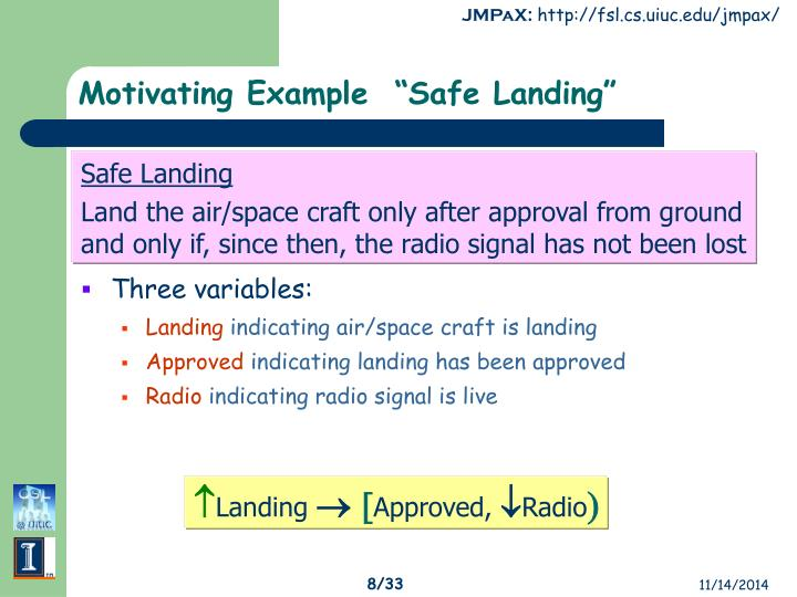 "Motivating Example  ""Safe Landing"""