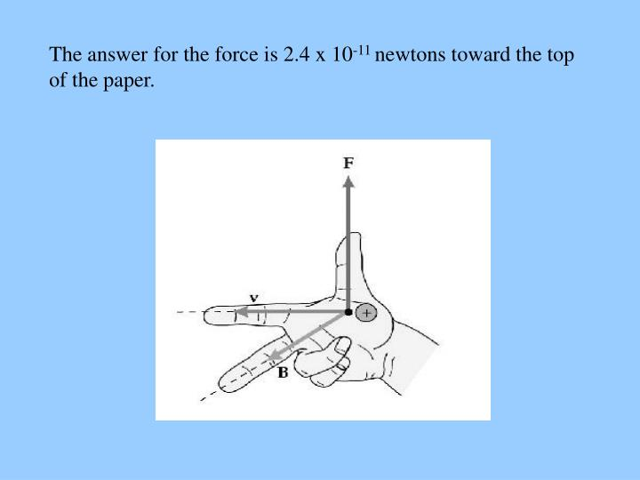 The answer for the force is 2.4 x 10