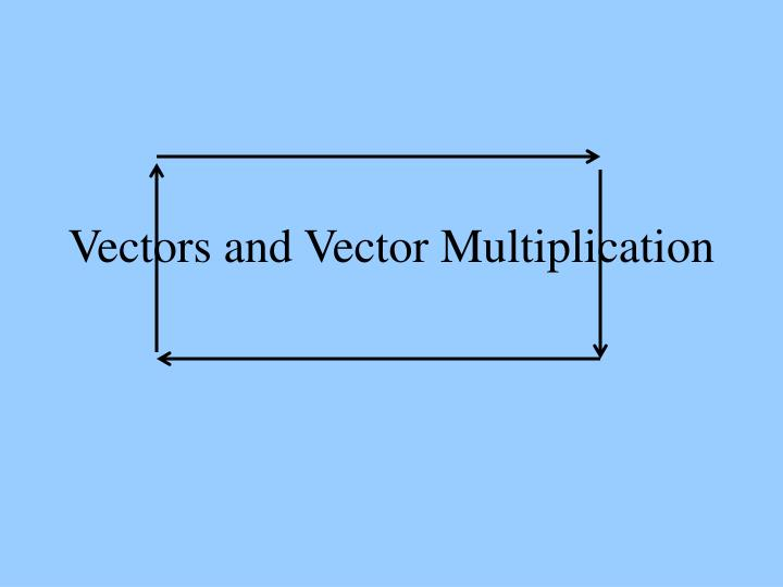Vectors and vector multiplication
