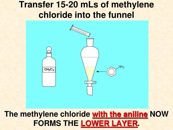 Transfer 15-20 mLs of methylene chloride into the funnel
