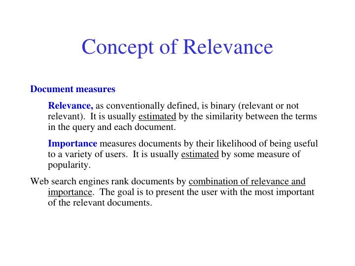 Concept of Relevance