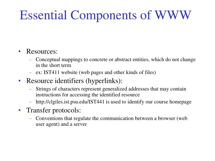 Essential Components of WWW