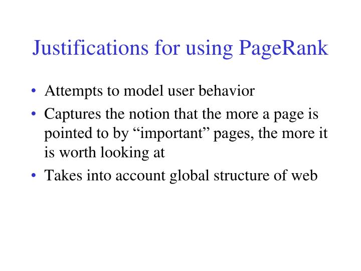 Justifications for using PageRank