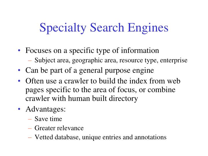 Specialty Search Engines