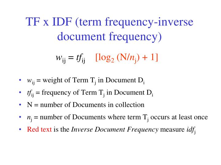 TF x IDF (term frequency-inverse document frequency)