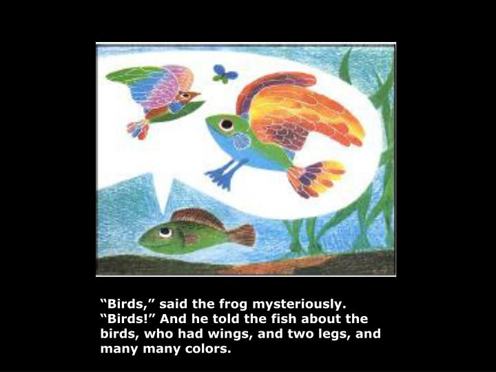 """Birds,"" said the frog mysteriously. ""Birds!"" And he told the fish about the birds, who had ..."