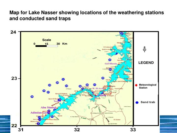 Map for Lake Nasser showing locations of the weathering stations and conducted sand traps