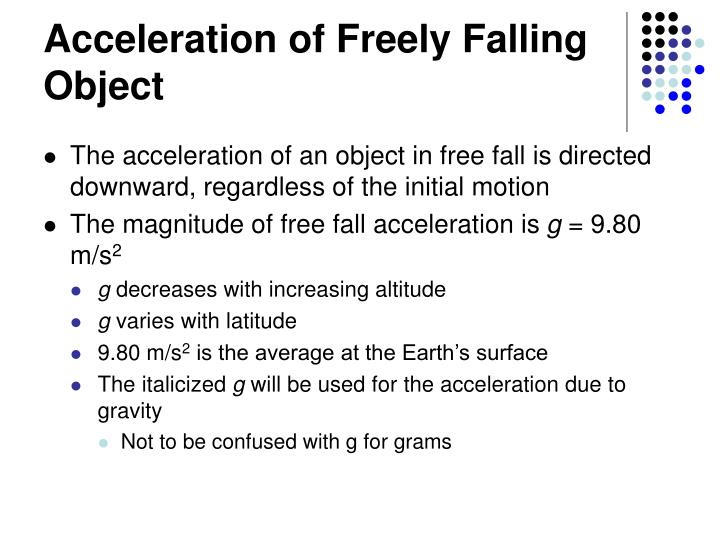 Acceleration of Freely Falling Object