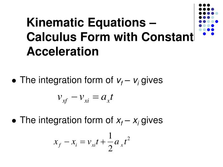 Kinematic Equations –