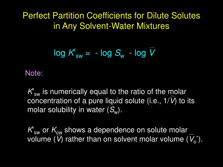 Perfect Partition Coefficients for Dilute Solutes in Any Solvent-Water Mixtures