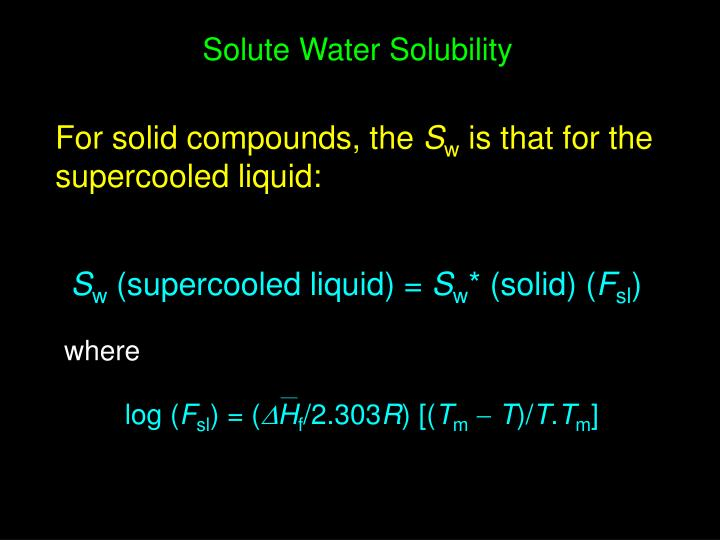Solute Water Solubility