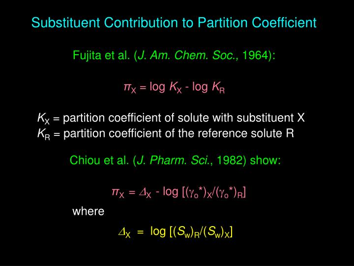 Substituent Contribution to Partition Coefficient