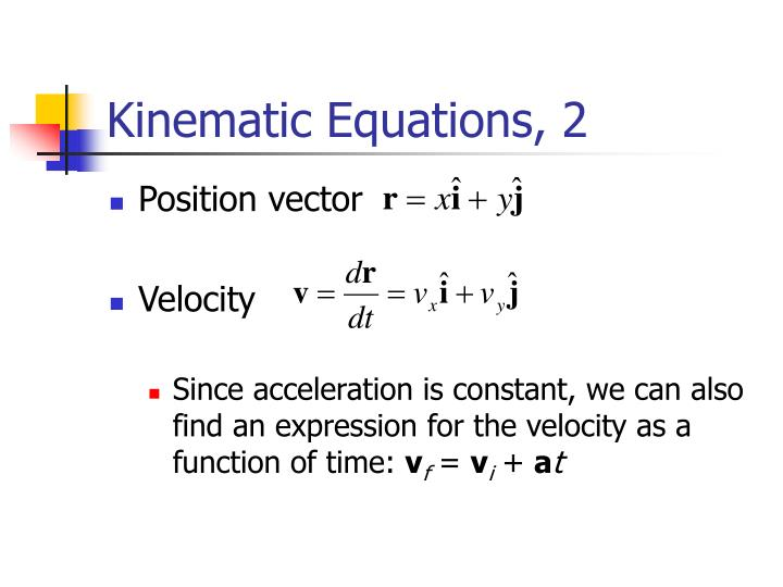 Kinematic Equations, 2