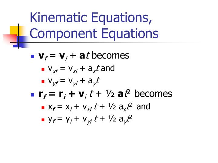 Kinematic Equations, Component Equations