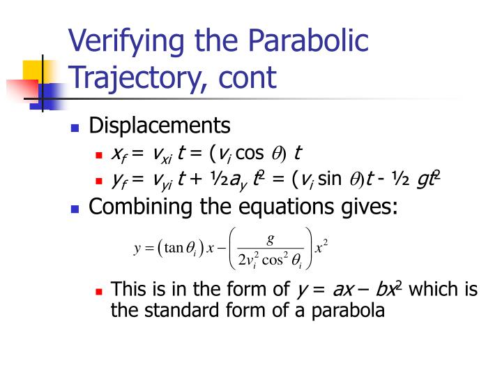 Verifying the Parabolic Trajectory, cont