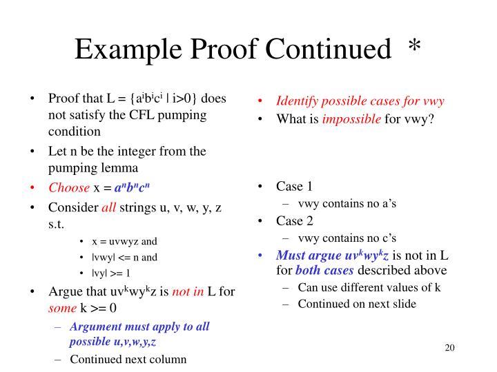 Proof that L = {a