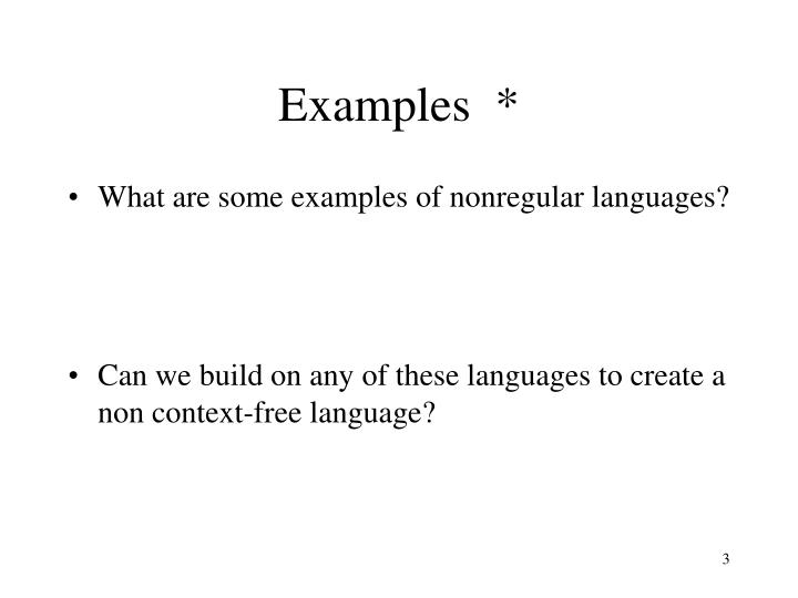 Examples  *