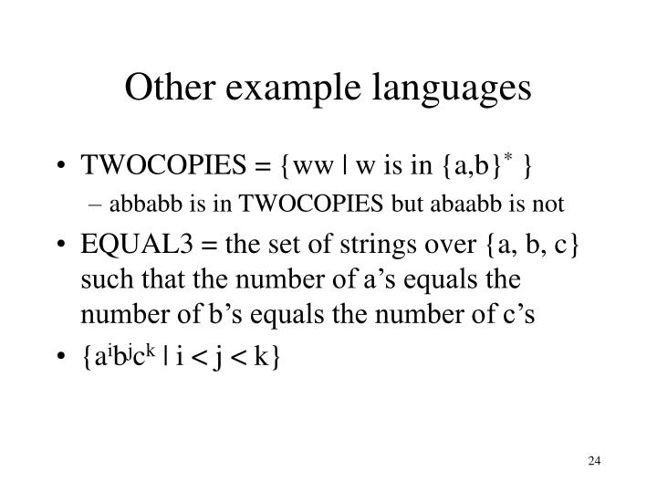 Other example languages