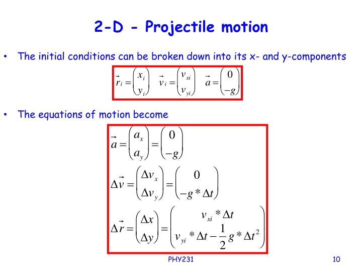2-D - Projectile motion