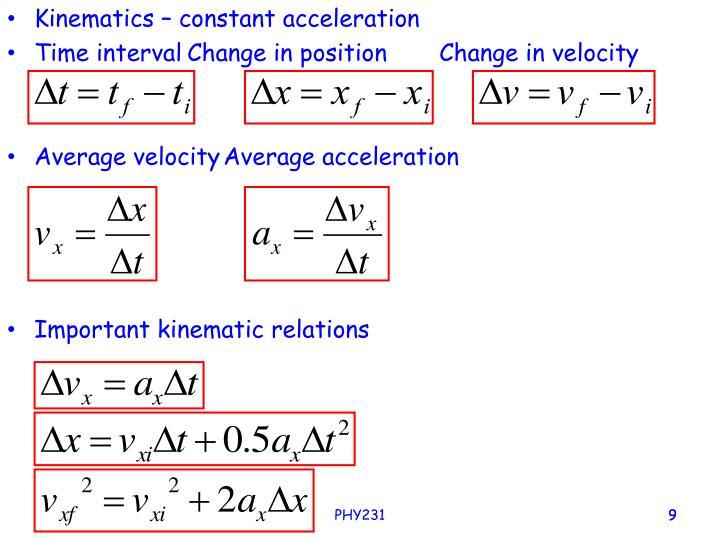 Kinematics – constant acceleration