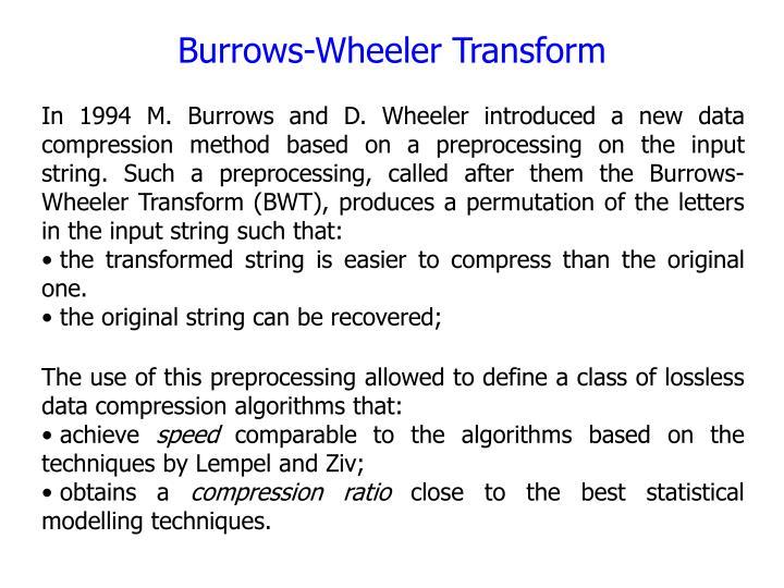 Burrows-Wheeler Transform