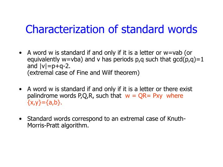 Characterization of standard words