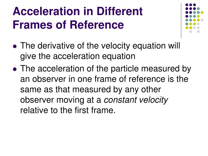 Acceleration in Different Frames of Reference