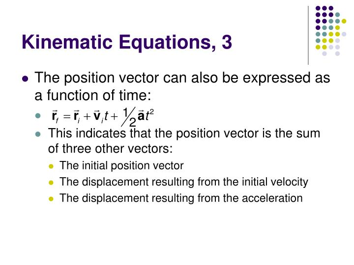Kinematic Equations, 3