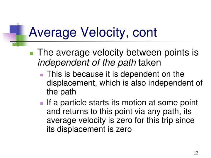 Average Velocity, cont
